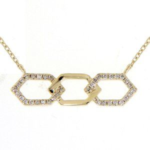 Solid Diamond Classy Bar Necklace 14K Yellow Gold